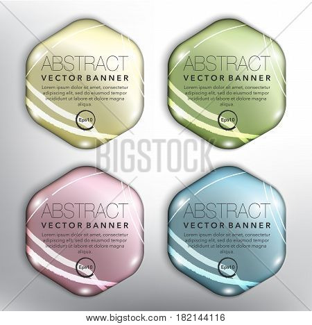 Abstract vector banner set of 4. Hexagonal pebble stones. Colorful and glossy on the white panel. Vector illustration. Eps10.