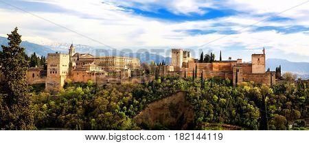 Panoramic view of the Alhambra from Mirador de San Nicolas Granada