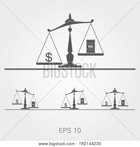 Oil prices balance simple flat vector illustration.