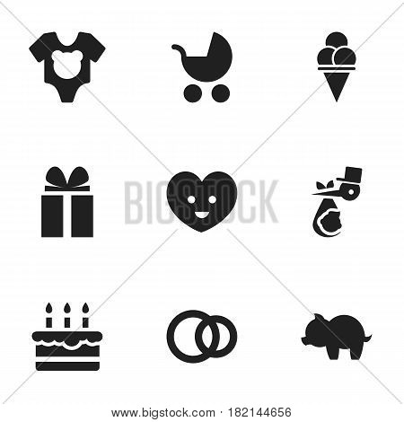 Set Of 9 Editable Relatives Icons. Includes Symbols Such As Bodysuit, Moneybox, Perambulator And More. Can Be Used For Web, Mobile, UI And Infographic Design.