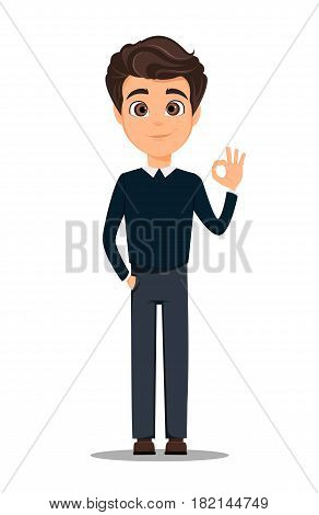 Business man cartoon character. Young handsome smiling businessman in smart casual clothes showing OK gesture - stock vector