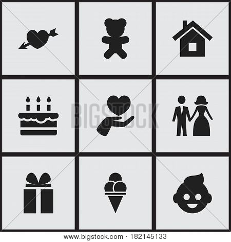 Set Of 9 Editable Relatives Icons. Includes Symbols Such As Toy, Heart, Married And More. Can Be Used For Web, Mobile, UI And Infographic Design.