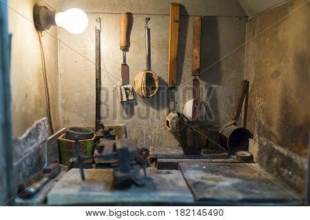 Jeweler tools in a furnace used to craft jewelery