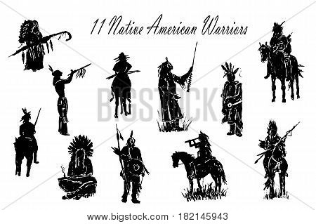 drawing elements set of isolated figures of American Indian warriors silhouettes sketch hand-drawn vector illustration