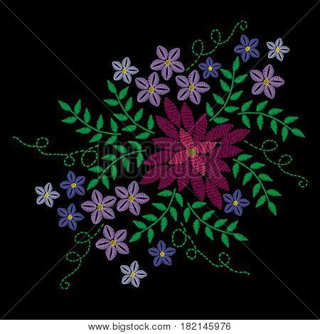 Embroidery stitches imitation with colorful flower and green leaf. Vector embroidery floral folk pattern on the black background for printing on fabric.