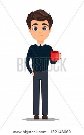 Business man cartoon character. Young handsome smiling businessman in smart casual clothes with cup of hot coffee having a rest while coffee-break - stock vector