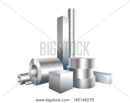 Group different metal steel objects circle square sleeve pipe. Vector illustration.