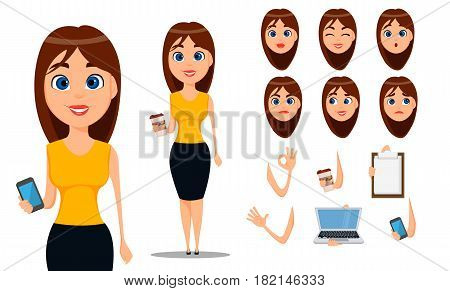 Business woman cartoon character creation set. Young attractive businesswoman in smart casual clothes. Build your personal design - stock vector