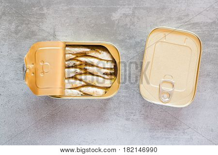 Can Of Sardines On A Concrete Table