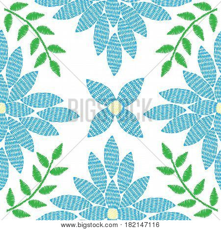 Seamless vector embroidery imitation pattern with big blue flower and green leaf. Embroidery floral background with abstract flower for printing on fabric paper for scrapbook gift wrap.
