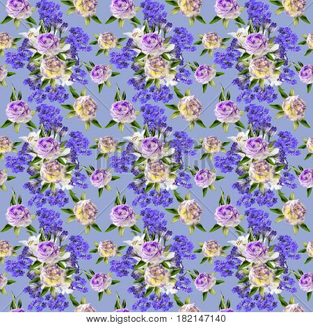 Beautiful floral seamless pattern with bouquets of white lilies two-color eustoma flowers and Greek valerian in victorian style on a blue background