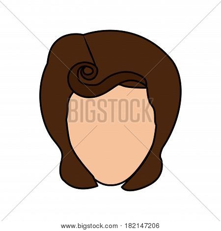 colorful silhouette of faceless woman with pin up swirl hairstyle vector illustration