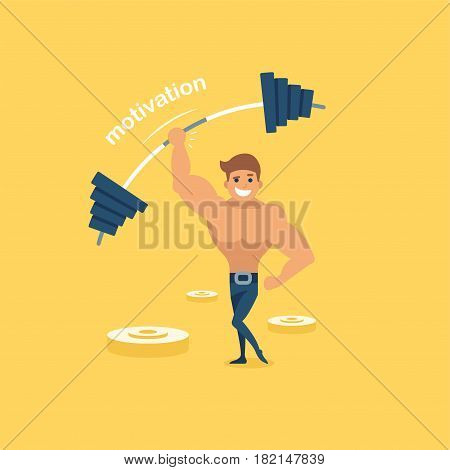 Bodybuilder exercises. Flat vector illustration. Sportsman with sports equipment. The athlete lifts the barbell. The bar bends under the load. Strength training.