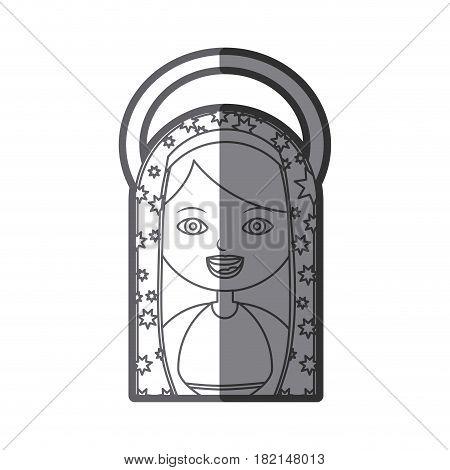 monochrome silhouette figure virgin maria cartoon with aureole vector illustration