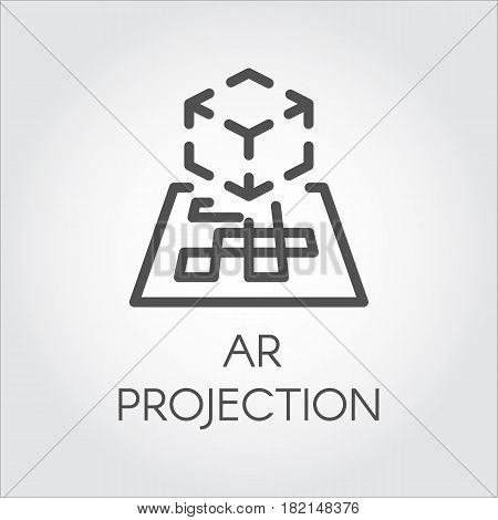 Black flat simple icon in style line art. Outline symbol with stylized image of a new device virtual augmented reality. Stroke vector logo digital AR technology future. Pictogram on a gray background.