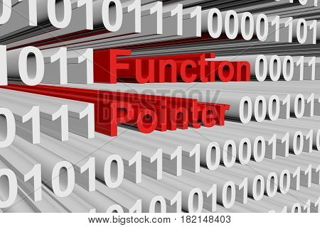 Function pointer in the form of binary code, 3D illustration