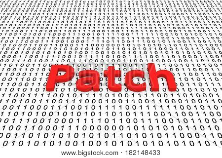 Patch presented in the form of binary code, 3D illustration