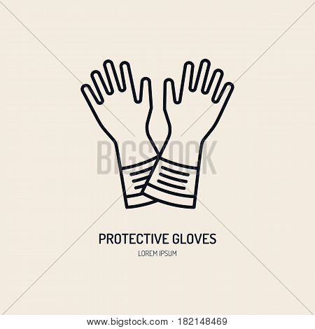 Safety gloves, hand protection flat line icon. Vector logo for personal protective equipment store. Safe work thin linear sign.
