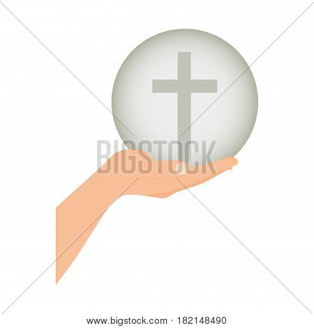 color silhouette of hand extended with sphere with cross symbol vector illustration