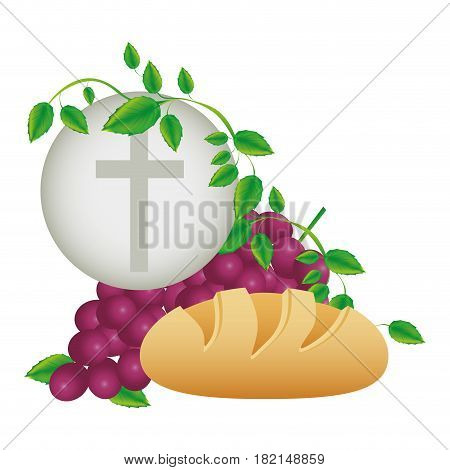 color background with communion religious icons vector illustration
