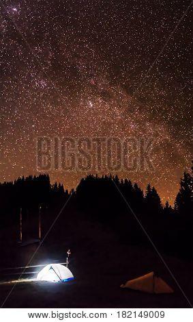 Camping under the stars. Amazing star night panorama