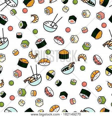 Seamless japenese food pattern, sushi and rolls, rice white background