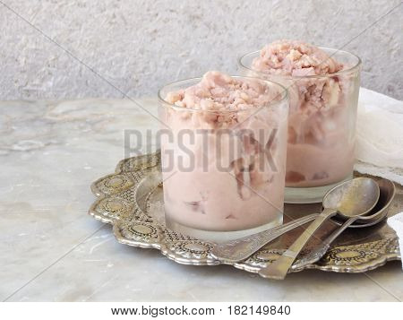 Pink Berry Ice Cream In Glasses On A Metal Dish. Space For Text