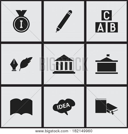 Set Of 9 Editable Graduation Icons. Includes Symbols Such As Pencil, Museum, Dictionary And More. Can Be Used For Web, Mobile, UI And Infographic Design.
