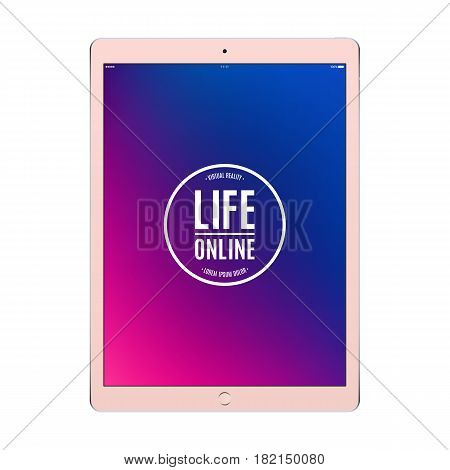 tablet rose gold color with colored screen isolated on white background. stock vector illustration eps10
