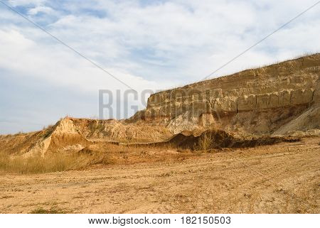 An open clay pit in Ukraine .