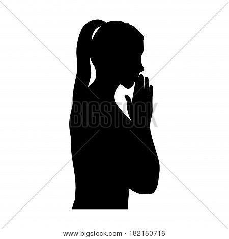 black silhouette of half body woman praying vector illustration