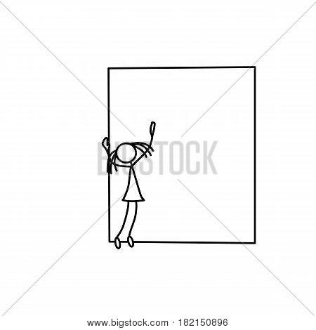 Stick figure little school girl drawing vector