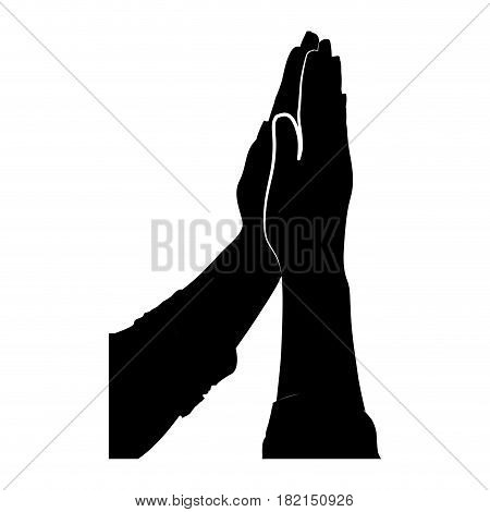 black silhouette of hands together for praying vector illustration
