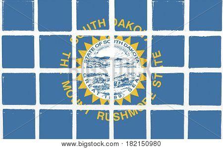 Glazed tiles south dakota flag design  square mosaic