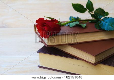 Old books with red rose traditional gift for Sant Jordi the Saint Georges Day. It is Catalunya's version of Valentine's day celebrated on 23rd of April. Copy space.