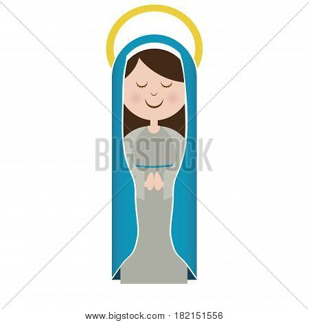 white background of virgin with blue mantle and aura vector illustration