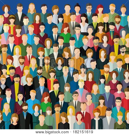 The crowd of abstract people. Seamless background. Flat design, vector illustration.