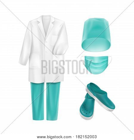 Vector Set of Medical Uniform Clothes Accessories Face Ear Loop Mask Blue Turquoise Hat Cap and Footwear Isolated on White Background