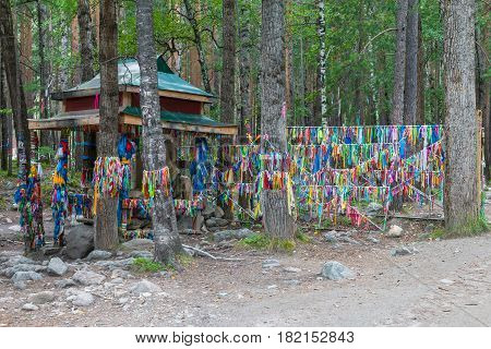 Zalaa - tapes, tied to the trees. Sacred place in Arshan resort. Buryatia