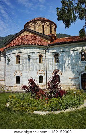 BACHKOVO MONASTERY, BULGARIA - AUGUST 30 2015:  Panoramic view of Medieval Bachkovo Monastery, Bulgaria
