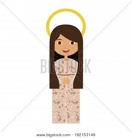 white background of beautiful virgin with long hair and aura vector illustration
