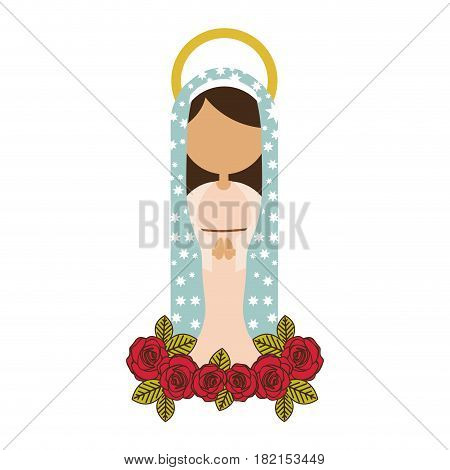 white background of faceless virgin of guadalupe with light blue mantle and red roses vector illustration