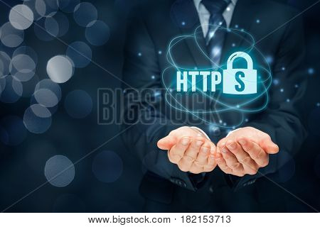 HTTPS - secured internet concept. Businessman or programmer offer https technology for www.
