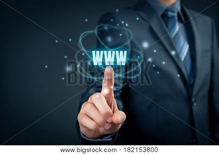 World wide web (www) - internet websites and SEO concepts. Businessman or programmer click on text www.