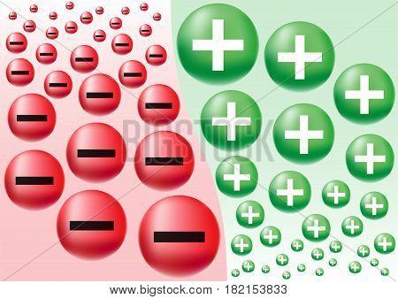 Negative & Positive Business Attitude Designed as Symbol of Optimism and Pessimism