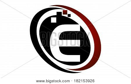 This vector describe about Technology Logo Motion Synergy Initial E