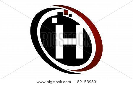 This vector describe about Technology Logo Motion Synergy Initial H