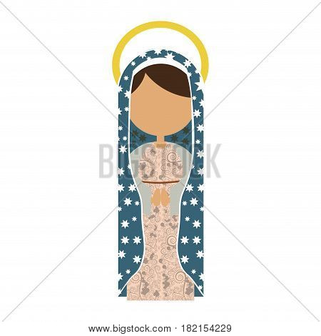 white background of faceless virgin with light blue mantle with stars and aura vector illustration