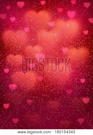 Heart background with cloud of glowing blurred bokeh hearts and glitter confetti. Pink light backdrop for wedding, romantic, Valentines Day, Mothers Day cards design. Colorful vector illustration.