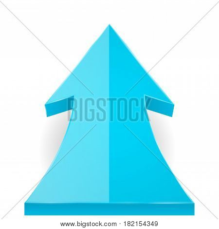 Blue arrow up. Vector 3d illustration isolated on white background